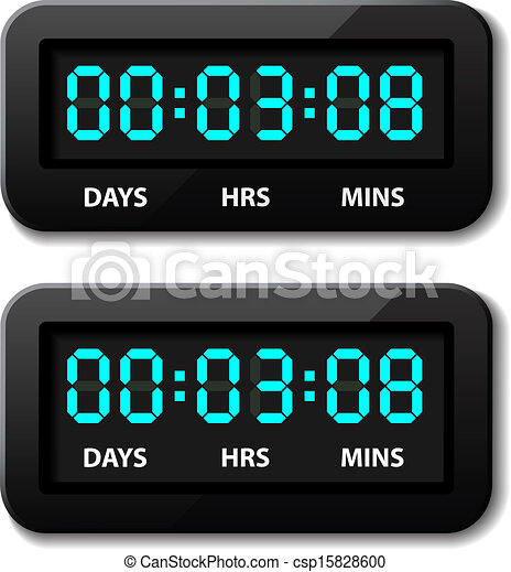 vector glowing digital counter - countdown timer - csp15828600