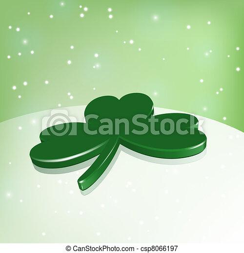 vector green shamrock under green sky and stars - csp8066197