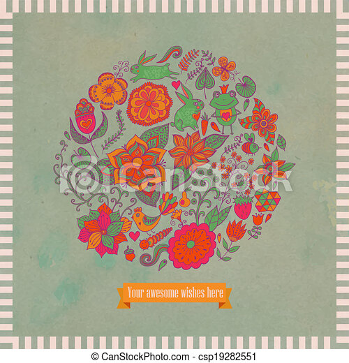 Vector illustration of circle made of flowers and birds. Round shape made of butterflies, leaves and different flowers. Vintage background. Bright summer outlines made from flowers with grunge paper. - csp19282551