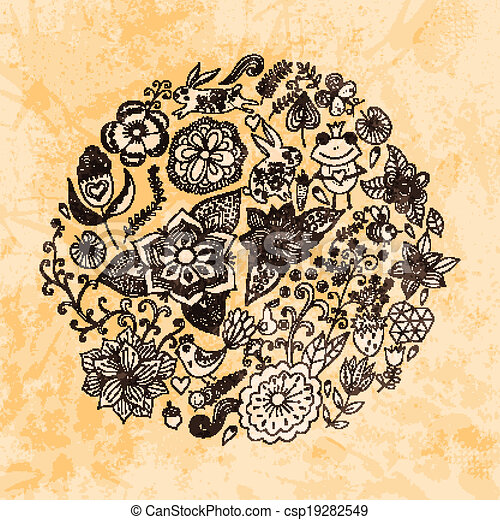 Vector illustration of circle made of flowers and birds. Round shape made of butterflies, leaves and different flowers. Vintage background. Bright summer outlines made from flowers with grunge paper. - csp19282549