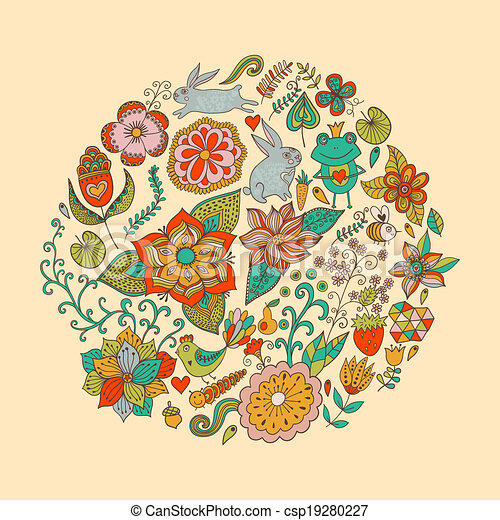 Vector illustration of circle made of flowers and birds. Round shape made of butterflies, leaves and different flowers. Vintage background. Bright summer outlines made from flowers - csp19280227