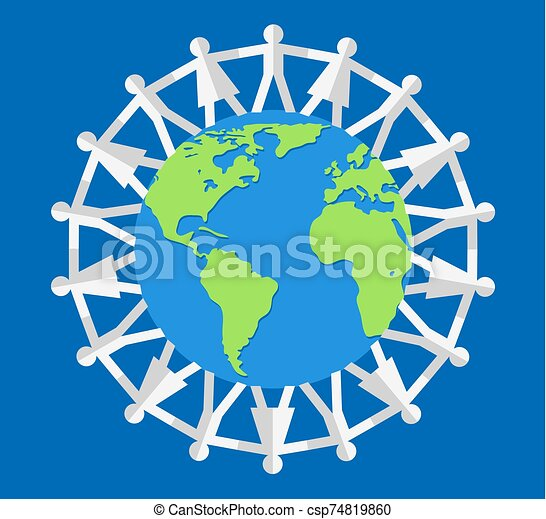 vector illustration of people around the world - csp74819860