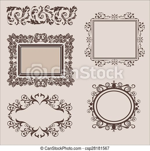 Vector Set of Calligraphic Design Elements and Page Decoration Dividers - csp28181567