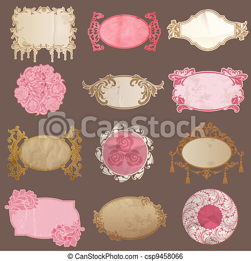 Vector Set: Vintage Paper Frame collection - various tags for your design or scrapbook - csp9458066