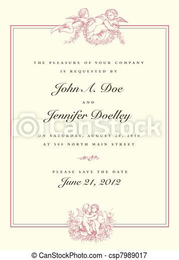 Vector Vintage Cupid Wedding Invitation - csp7989017