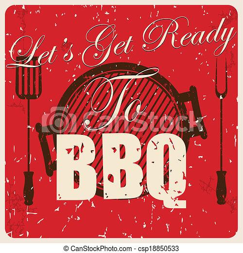 Vintage BBQ card, vector - csp18850533
