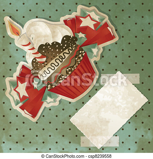 Vintage Birthday Cupcake - csp8239558
