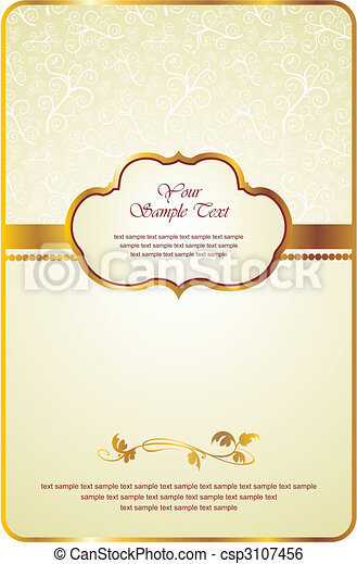 vintage card with gold emblem - csp3107456
