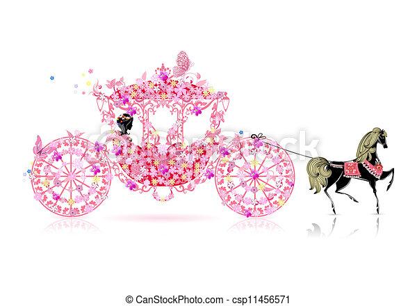 vintage floral carriage - csp11456571