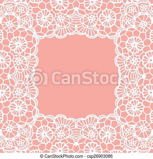 Vintage lace invitation card. - csp26903086