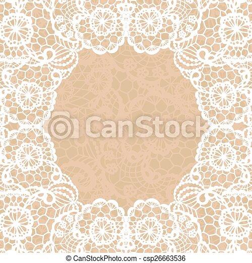 Vintage lace invitation card. - csp26663536