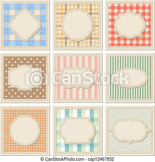 Vintage patterned card templates set. - csp12467832