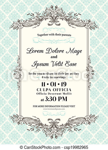 Vintage Wedding invitation border and frame - csp19982965