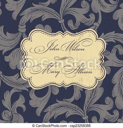 Vintage wedding invitation card. Vector - csp23258388
