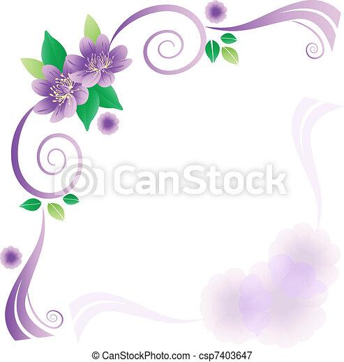 Wedding card with lavander flowers - csp7403647