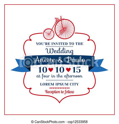 Wedding Invitation Card -Vintage Bicycle Theme - in vector - csp12533958