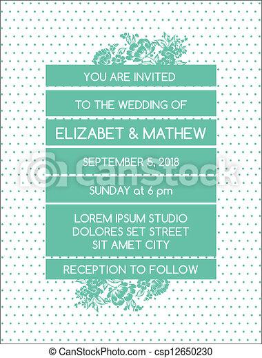 Wedding Invitation Card - Vintage Floral Theme - in vector - csp12650230