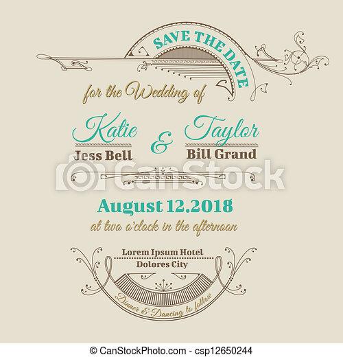 Wedding Invitation Card - Vintage Frame Theme - in vector - csp12650244