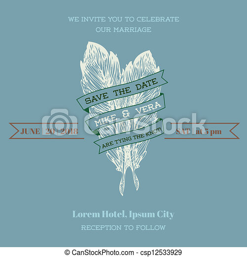 Wedding Vintage Invitation Card - Feather Theme - in vector - csp12533929
