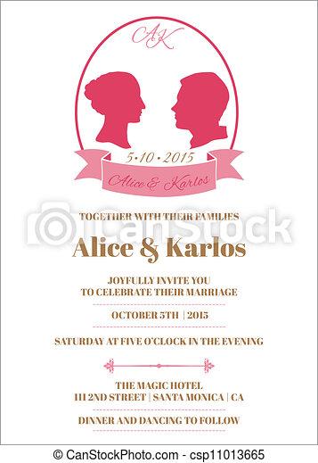 Wedding Vintage Invitation Card - in vector - csp11013665