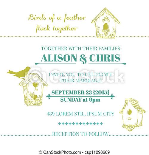 Wedding Vintage Invitation Card - in vector - csp11298669
