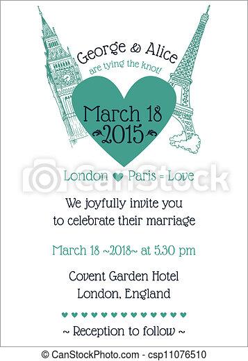 Wedding Vintage Invitation Card - in vector - csp11076510