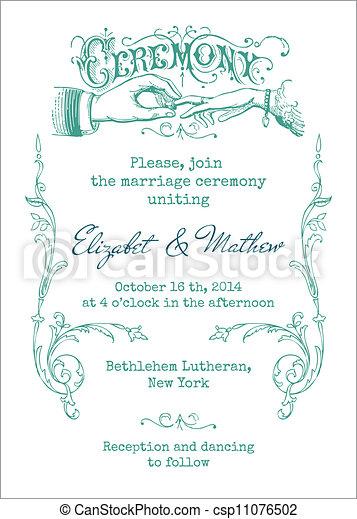 Wedding Vintage Invitation Card - in vector - csp11076502