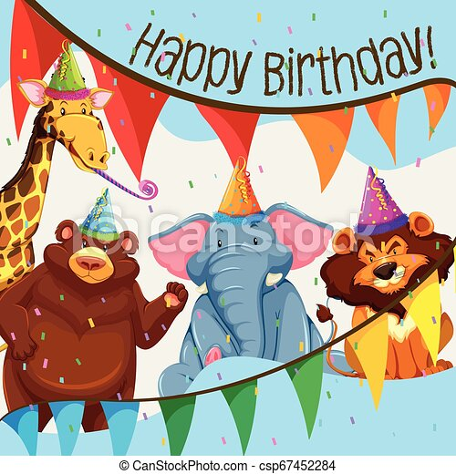 Wild animal birthday party - csp67452284