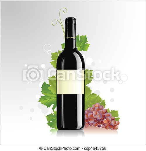 Wine bottle with blank label - csp4645758