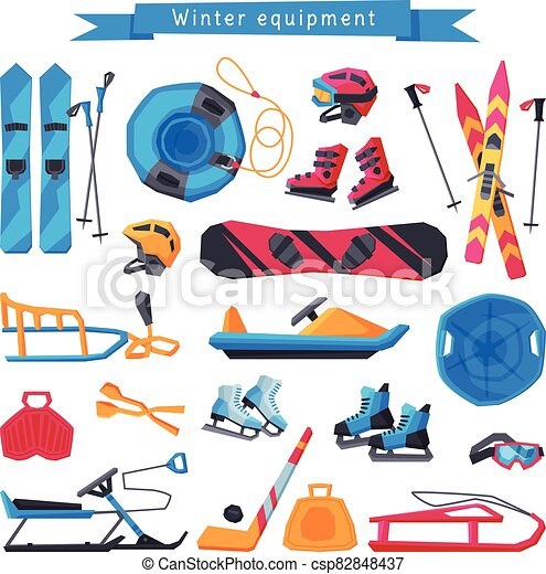 Winter Outdoor Sports and Leisure Equipment Collection, Inflatable Snow Tubing, Sled with Steering Wheel, Skis and Sticks, Hockey Stick, Puck and Ice Skates, Snowmobile Vector Illustration - csp82848437