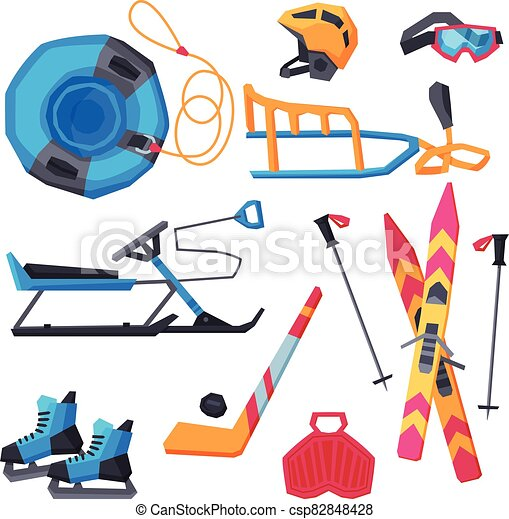 Winter Outdoor Sports and Leisure Equipment Collection, Inflatable Snow Tubing, Sled with Steering Wheel, Skis and Sticks, Hockey Stick, Puck and Ice Skates, Helmet, Vector Illustration - csp82848428