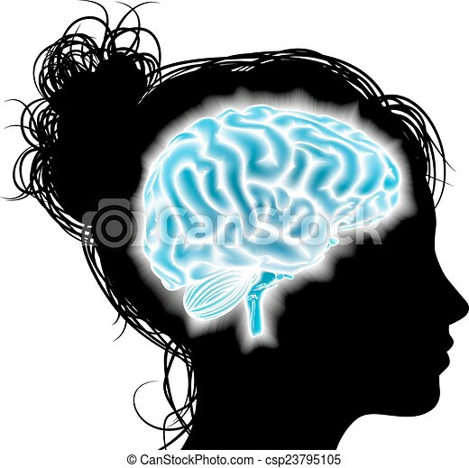 Woman glowing brain concept - csp23795105