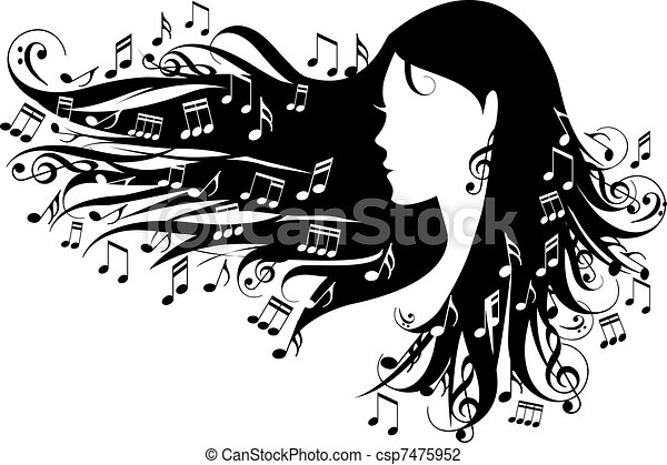 woman with music notes - csp7475952