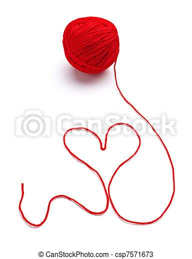 wool knitting heart shape love - csp7571673