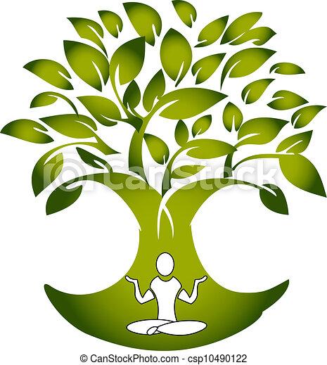 Yoga figure with tree logo vector - csp10490122