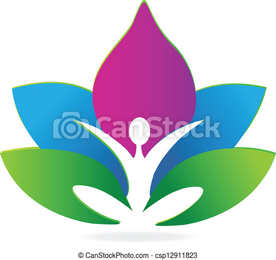 Yoga lotus meditation logo - csp12911823